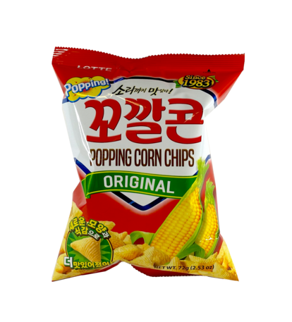 Popping Corn Chips Original Smak 72g Lotte Korean